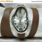 Leather Watch Women wrist watch Wire wrap Wrapped Gold Leather Watch Leather Accessories