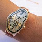 Elegant Wavy Time Warp silver Ladies Watch Dali Fluid Leather Wrap Watch-Wrist Watch