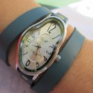 silver Ladies Watch Dali Fluid Leather Wrap Watch-Wrist Watch-Leather Watches- Women's Watches
