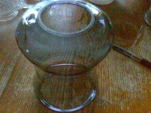 VINTAGE HURRICANE BLUE  UNIQUE SHAPE GLASS LAMP SHADE