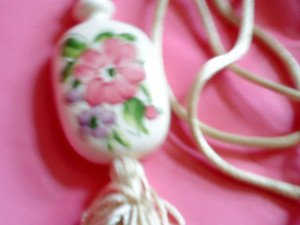 Avon white Porcelain Pendant hand Painted Flowers from 1980s  with 28'' Cord