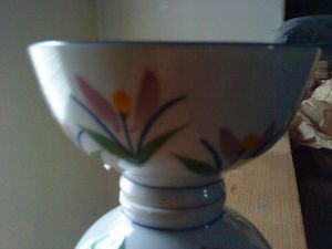 5  pc porcelain rice bowl colored flowers