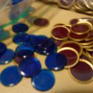 200 Original Purple Gold ring Design & 200 Blue  REPLACEMENT  BINGO CHIPS