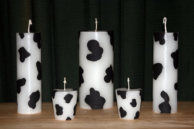 Cow Print Pillar Candles 5 Set. Triple scented wax