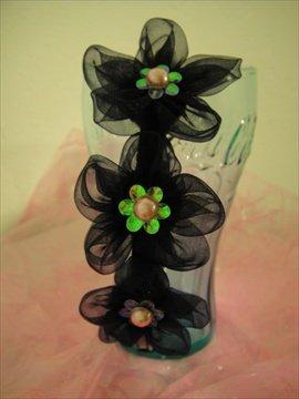 Pearl Embellishment Black flowers headband