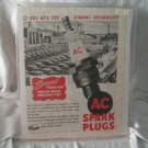 AC Spark Plugs 1947 Print Ad