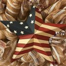 Patriotic Star Flag Wreath Handmade With Burlap Mesh and Ribbon 21 inch
