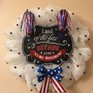 Patriotic Wreath Handmade With Polyester Nylon Mesh and Bow w/ Plaque 21 inch
