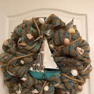 Nautical Burlap Fabric Sail Boat Wreath