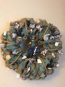 Fisherman Ocean Nautical Burlap Wreath Florida Sea Shells and Figurine