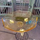 Yellow Depression Glass Etched 3 Footed Candy Bowl Dish