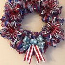 Patriotic Wreath Handmade With Polyester Deco Mesh