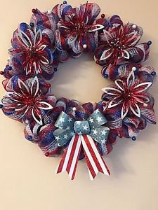 Patriotic Wreath Handmade With Polyester Deco Mesh