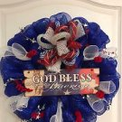 Patriotic Wreath Handmade With Polyester Mesh And Plaque