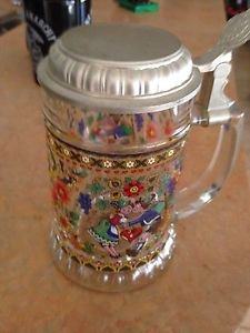 W.German Glass Beer Stein With Lid Decorative Glass Very Nice Ornate Colorful