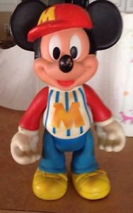 Vintage Walt Disney Productions Mickey Mouse Rubber Doll Figurine Figure Toy
