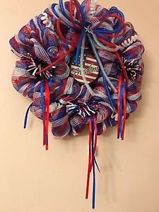 Patriotic Wreath Handmade With Polyester Mesh Freedom Plaque and Trim