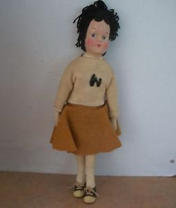 Composite Antique 1930s High School Doll 16 Inch with Music Box