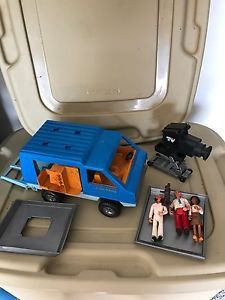 Vintage Fisher Price Adventure People Mobile TV Van #309 1977 With Accessories