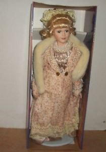 "PORCELAIN KEEPSAKES FINE BISQUE DOLL ASHLEY BELLE 20"" TALL VIOLET"