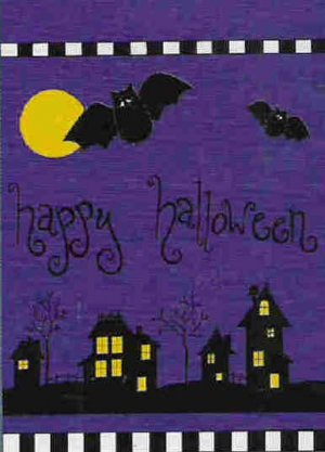 Happy Halloween Bats at Night Decorative Flag