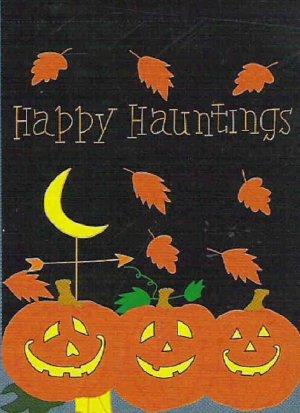 Happy Hauntings Jack-o-Lantern Halloween Flag