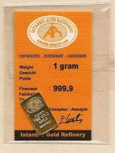 1 Gram .999 Fine Gold bullion bar