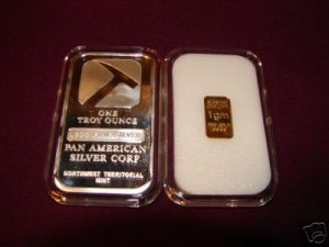 1 Gram GOLD Bullion Ingot Bar + 1 Troy Ounce SILVER Bar