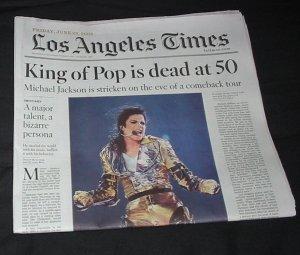LA Times-Michael Jackson died story 06/26/09