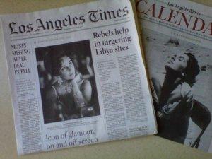 LA Times-Elizabeth Taylor dead story 03/24/11