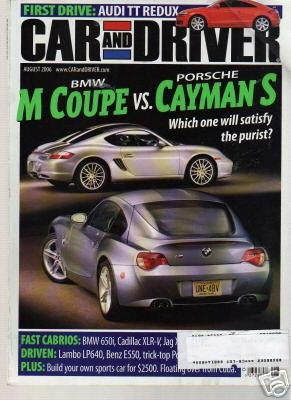 Car and Driver Magazine-BMW M Coupe vs Porsche Cayman S Cover 08/2006