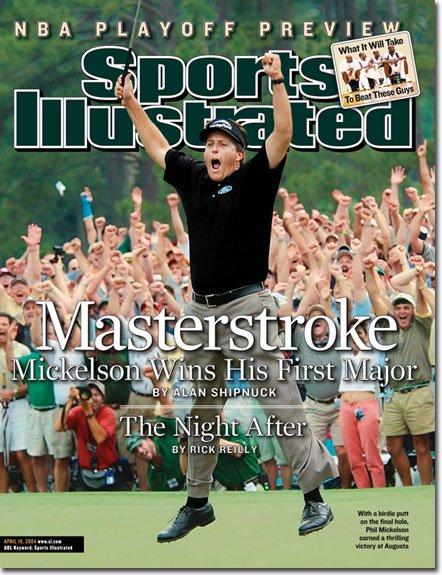 """SPORTS ILLUSTRATED """"Masterstroke-Mickelson Wins"""" 04/19/04"""