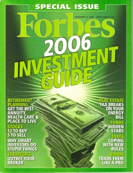"""FORBES MAGAZINE 12/12/2005""""2006 Investment Guide"""" issue"""