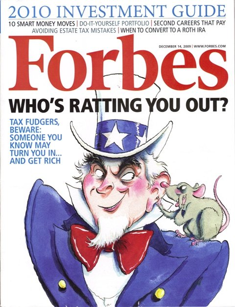 """FORBES MAGAZINE 12/14/2009""""Who's Ratting You Out?"""" issue"""