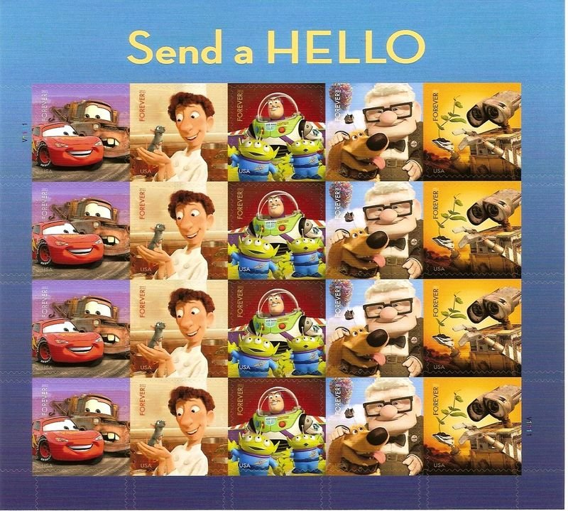 Disney Pixar Animation Sheet 20 USA Postage Stamps