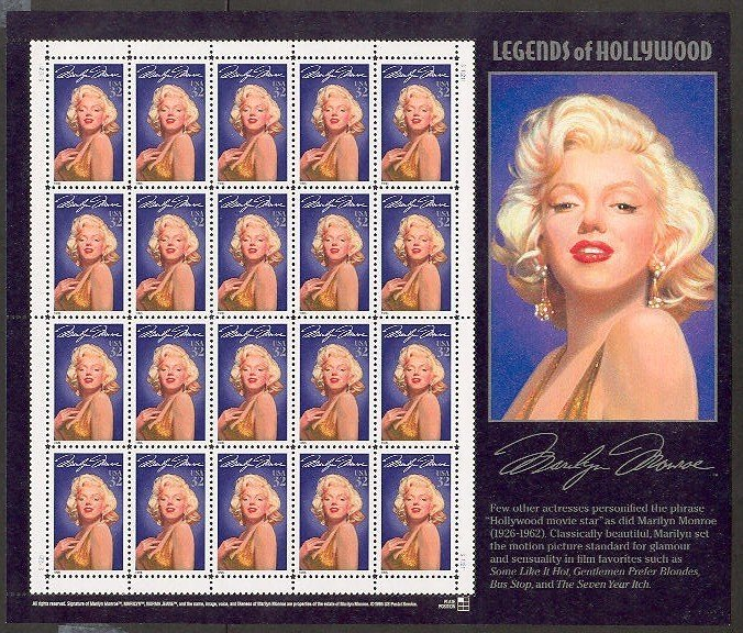 USA Marilyn Monroe 32 cents stamp sheet (20 stamps)