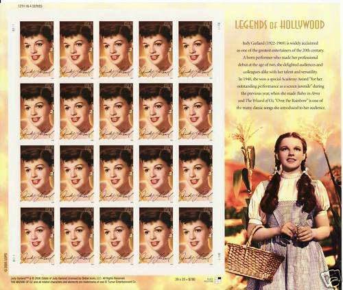 USA Judy Garland 39 cents stamp sheet (20 stamps)