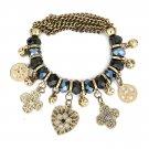 Vintage Black Crystal Charm Bracelet