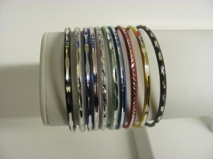 10 Slip-On Mixed Enamel Bangle Bracelets