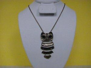 Owl Pendant Long Chain Vintage Style