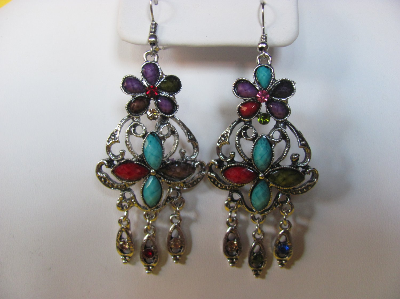 Multi-Color Gemstone Chandelier Earrings
