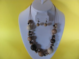 Wood Bead Necklace, Earring Set