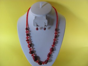 Red Bead Glass Necklace and Earring Set