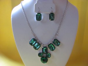 Green Crystal Necklace, Earring Set