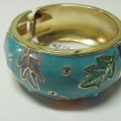 Enamel Crystal Bangle Bracelet with Leaf Patterns