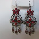 Red Gemstone Chandelier Earrings