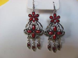 Red Gemstone Chandelier Earrings