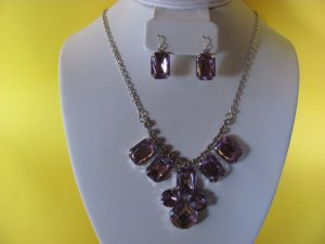 Light Purple Crystal Necklace and Earrings