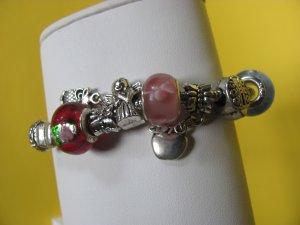 Multi-Colored Glass Bead Charm Bracelet