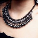 Teardrop black balls necklace